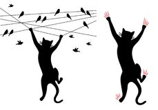Gato preto que escala, pássaros no fio, vetor Imagem de Stock Royalty Free