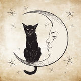 Gato preto que senta-se na lua Vetor do espírito familiar de Wiccan Foto de Stock