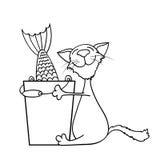 Gato que abraza un cubo de pescados Imagen de archivo libre de regalías