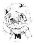 Gato que aponta à ferida e ao grito Imagem de Stock Royalty Free