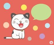 Gato que habla con la burbuja del discurso Fotos de archivo