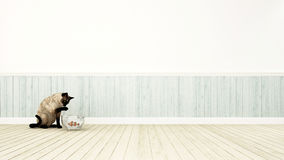 Gato que joga com o cowfish na rendição da decoração room-3D Imagens de Stock Royalty Free