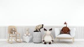Gato que joga com o urso e o girafa da rena da boneca na sala da criança - 3D Fotos de Stock