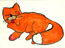 Gato que lame la pata libre illustration