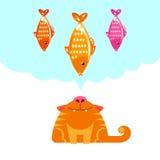 Gato que olha acima em peixes Imagem de Stock Royalty Free