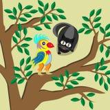 Gato que olha com curiosidade o papagaio que senta-se na árvore Fotografia de Stock Royalty Free