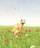 Gato que se sienta en campos verdes ilustración del vector