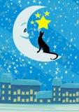 Gato que se sienta en la luna en el cielo nocturno Fotos de archivo