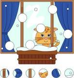 Gato que senta-se na janela do inverno com potenciômetros e cortinas de flor Imagens de Stock Royalty Free