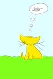 Gato que soña sobre ratón Foto de archivo