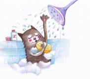 Gato que toma la ducha Imagen de archivo