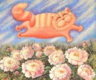 Gato que vuela sobre peonías libre illustration