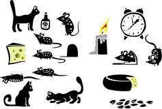 Gato, queso, ratones stock de ilustración