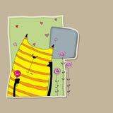 Gato rayado encantador con la piruleta en el pie Ilustración del Vector