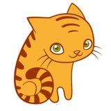 Gato rayado lindo, ejemplo plano del vector de la historieta Cartel dulce del cuarto de niños stock de ilustración