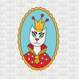 Gato real con el retrato colorido del vector del garabato de la corona Imagen de archivo