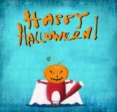 Gato rojo de la tarjeta de Halloween con la cabeza de la calabaza Fotografía de archivo