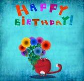 Gato rojo del feliz cumpleaños con los asteres Imagen de archivo libre de regalías