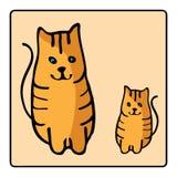 Gato rojo-dirigido anaranjado lindo Embroma el ejemplo con el animal doméstico Animal doméstico encantador Ilustración drenada ma stock de ilustración