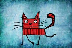 Gato rojo infantil en fondo azul Imagen de archivo