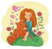 Gato rojo y muchacha roja Fotografía de archivo