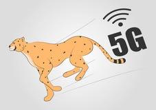 Gato salvaje grande del guepardo hermoso del funcionamiento del vector aislado en el animal más rápido del mamífero del fondo de  ilustración del vector