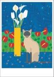 Gato siamés con el florero amarillo Imagen de archivo