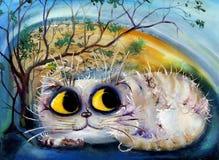 Gato sob a árvore Imagens de Stock Royalty Free