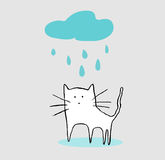 Gato sob a chuva Foto de Stock Royalty Free