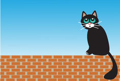 Gato triste que se sienta en ladrillos libre illustration