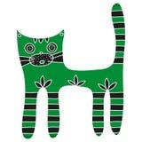 Gato verde bonito com patas e a cauda listradas em um fundo branco Foto de Stock Royalty Free