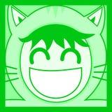 Gato verde de la máscara Foto de archivo libre de regalías