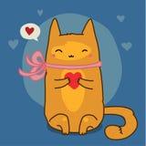 Gato vermelho bonito no azul Foto de Stock Royalty Free
