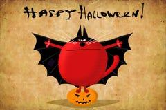 Gato vermelho do cartão de Dia das Bruxas no terno do bastão Fotos de Stock Royalty Free