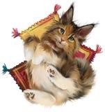 Gato vermelho macio que encontra-se nos descansos Desenho da aguarela fotos de stock
