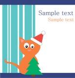 Gato vermelho no chapéu de Santa com pele-árvore ilustração royalty free