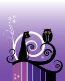 Gato y buho libre illustration