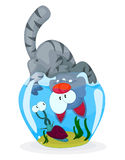 Gato y caracol stock de ilustración
