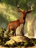 Gato y ciervos ilustración del vector