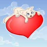 Gato y corazón ilustración del vector