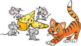 Gato y cuatro ratones stock de ilustración