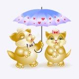 Gato y gato del gatito debajo del paraguas Imágenes de archivo libres de regalías