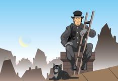 Gato y el barrido de chimenea stock de ilustración