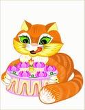 Gato y empanada Fotografía de archivo libre de regalías