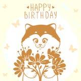 Gato y flores Imagen de archivo libre de regalías