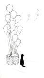 Gato y globos Fotos de archivo