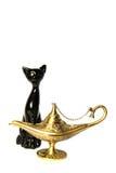 Gato y lámpara de aladdin Foto de archivo