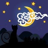 Gato y luna Fotografía de archivo