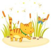 Gato y mariposa stock de ilustración