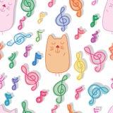 Gato y modelo inconsútil del sueño de la música stock de ilustración
